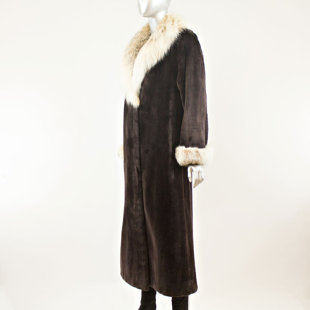 Sheared Beaver Coat with Lynx Collar and Cuff -  Size S-M (Vintage Furs)