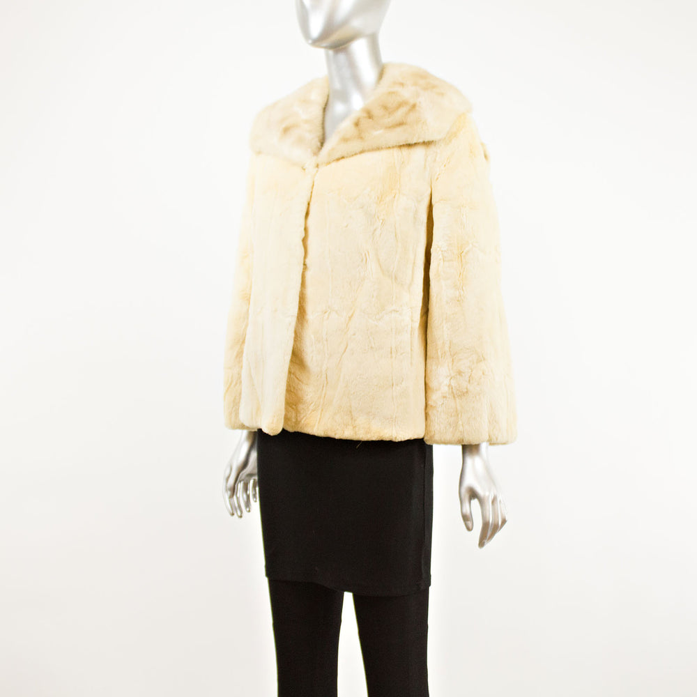 Sheared Beaver Jacket with Mink Collar- Size L (Vintage Furs)