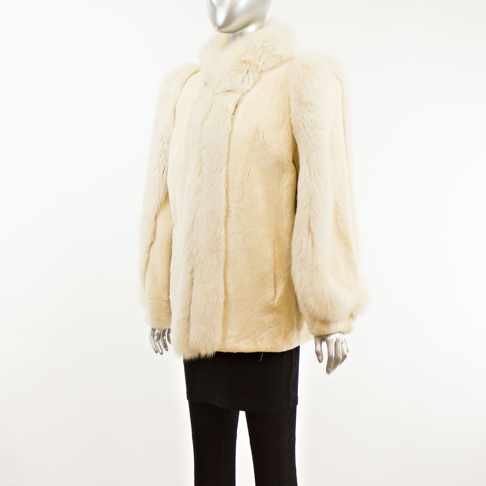 Sheared Beaver Jacket with Fox Tuxedo Trim- Size M (Vintage Furs)