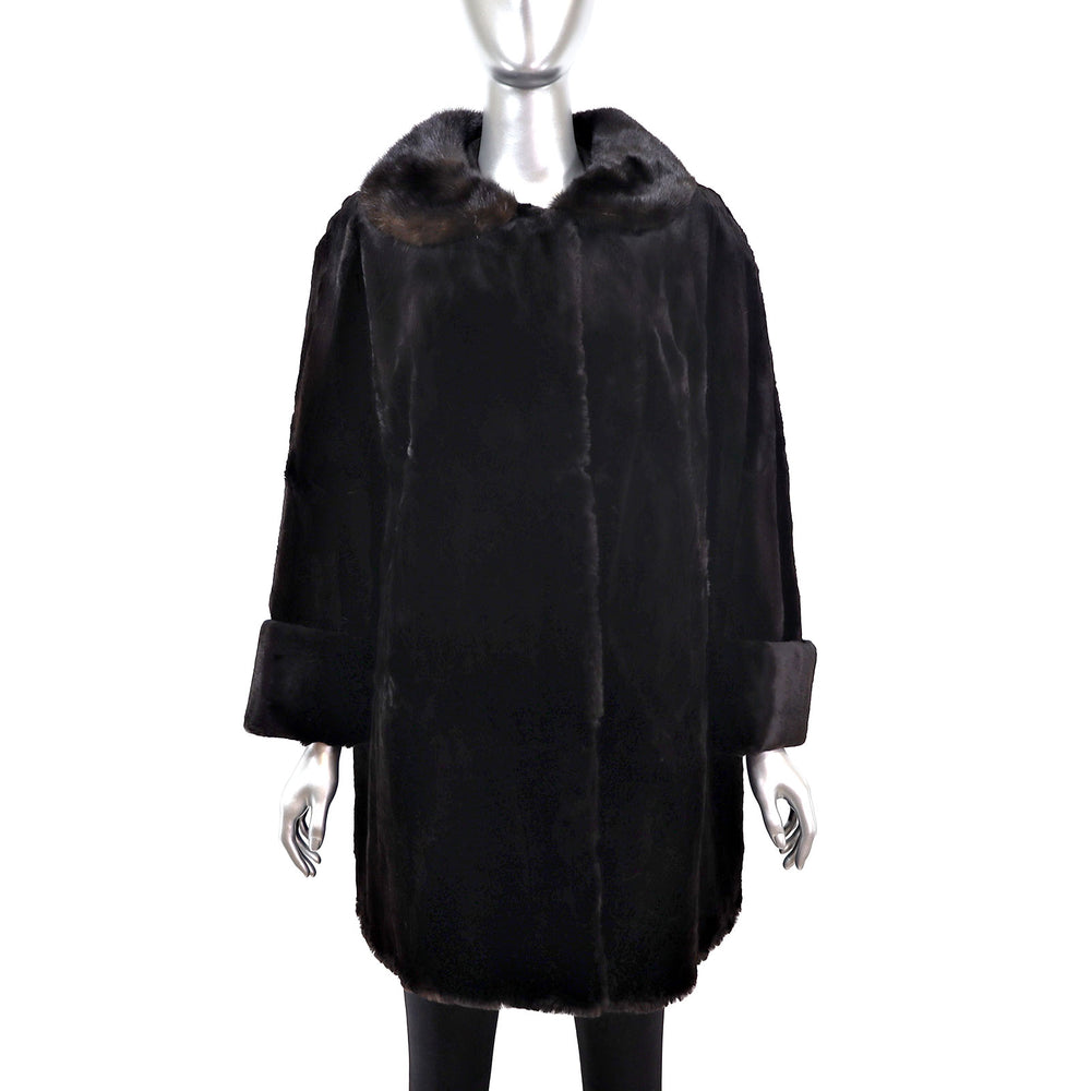 Ranch Sheared Mink Coat with Mahogany Mink Collar- Size XL (Vintage Furs)