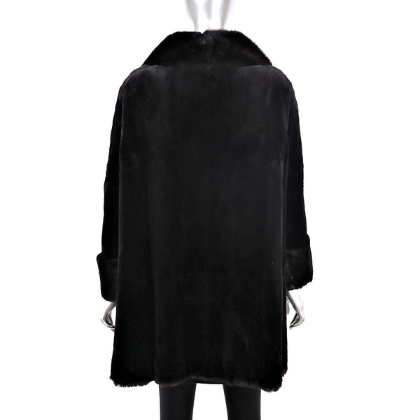 Ranch Sheared Mink Coat with Mahogany Mink Collar- Size XL