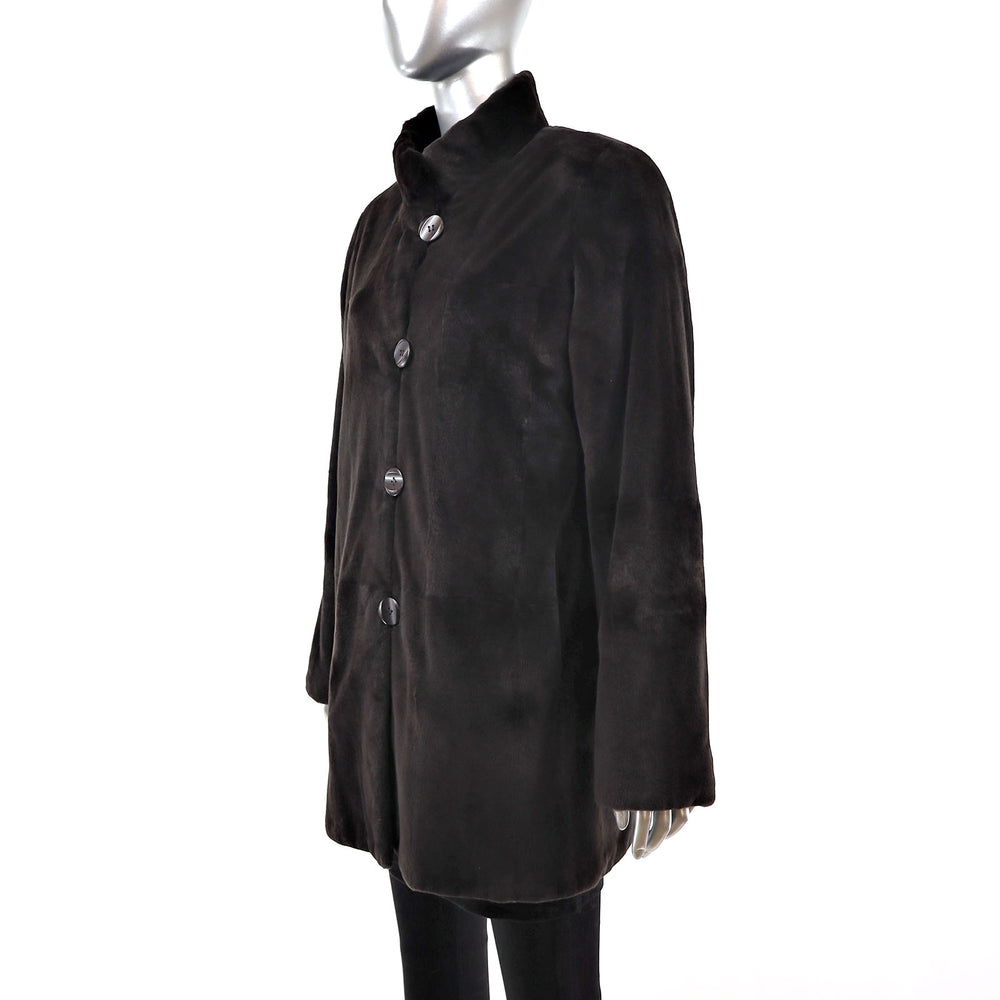 Sheared Mink Jacket Reversible to Taffeta- Size L