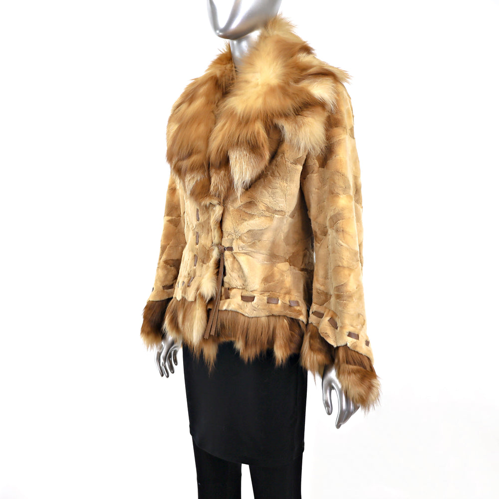 Sheared Mink Jacket with Fox Trim- Size XS-S (Vintage Furs)