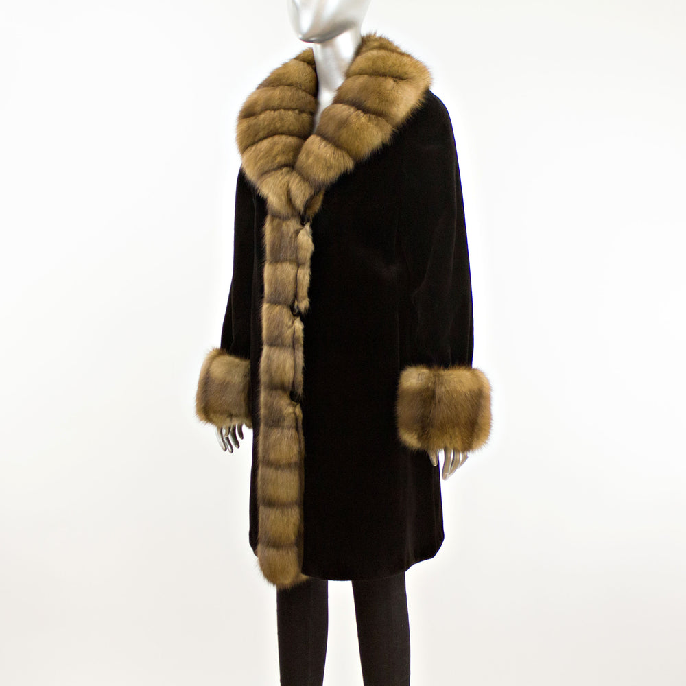 Black Sheared Mink 3/4 Coat with Sable Trim- Size S (Vintage Furs)