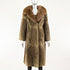 Sheared Nutria Brown Coat Fox Collar - Size M