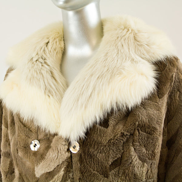 Sheared Section Beaver Jacket Cream Fox Collar - Size M (Vintage Furs)