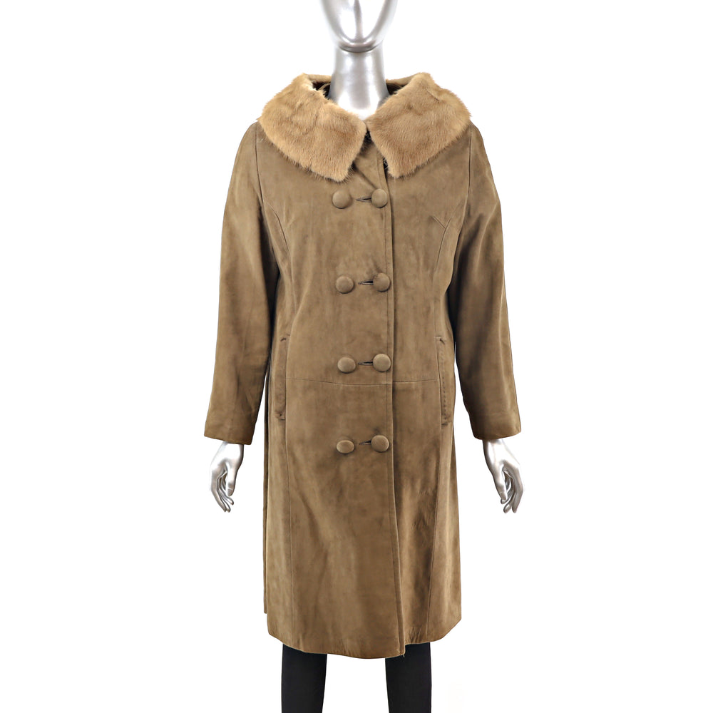 Suede Coat with Mink Collar- Size M