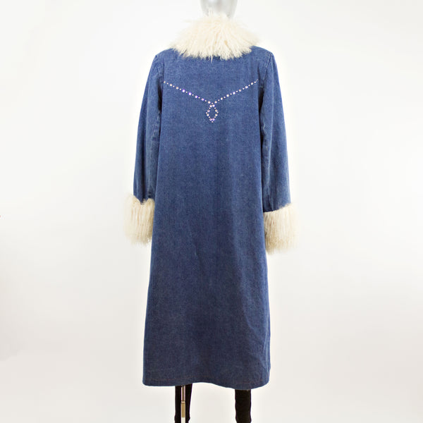 Tibetan Lamb and Denim Coat with Zip-Off Lamb Lining- Size M-L (Vintage Furs)