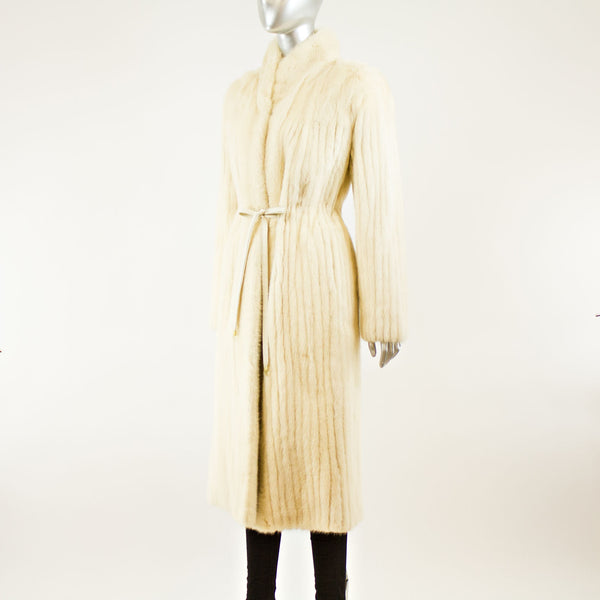 Tourmaline Corded Mink Coat with Belt- Size S (Vintage Furs)