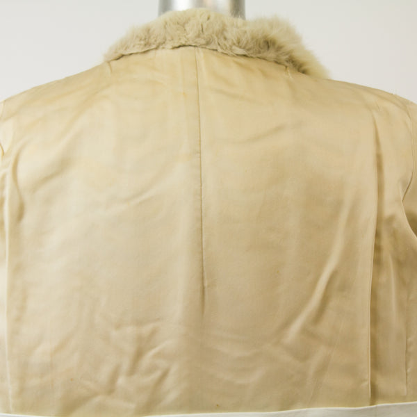 Tourmaline Mink and Leather Coat with Fox Collar- Size S (Vintage Furs)