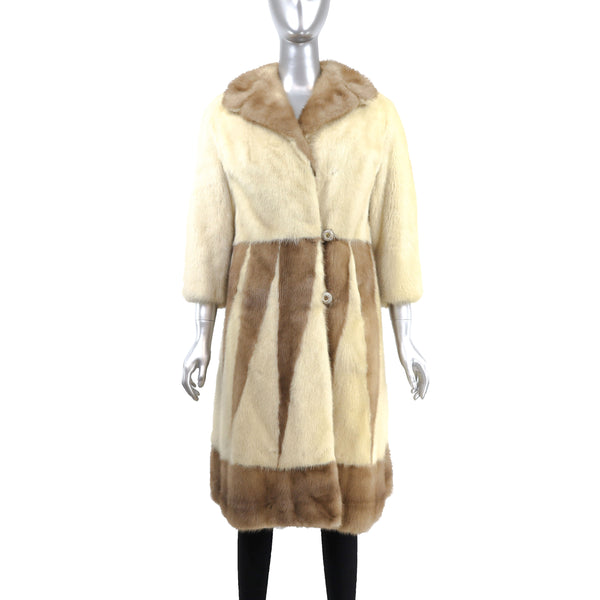 Tourmaline Mink Coat with Design- Size S (Vintage Furs)