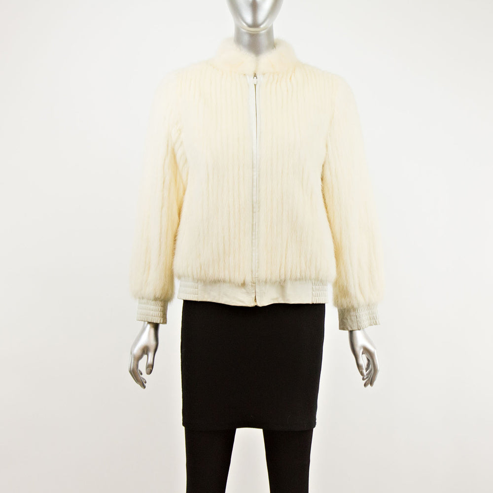 White Corded Mink Reversible to Leather Jacket- Size S (Vintage Furs)