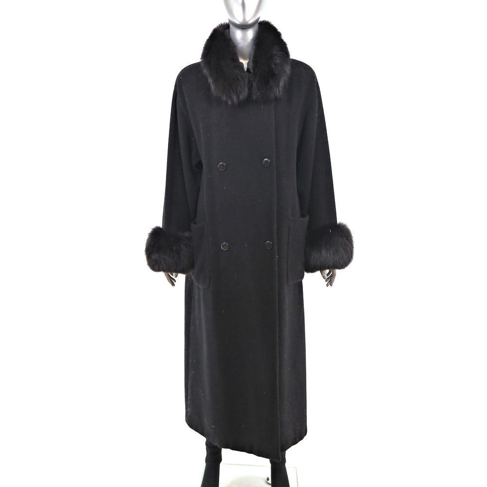 Black Wool Coat with Fox Trim- Size L