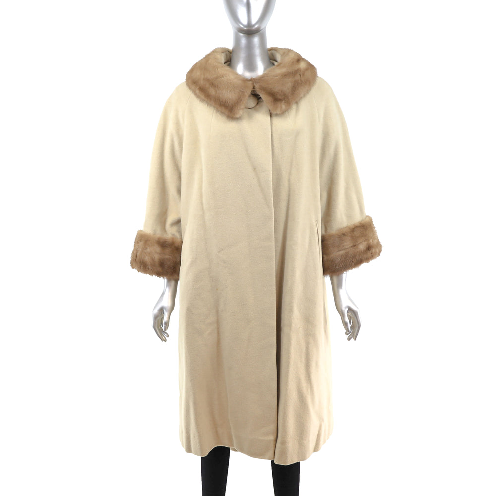 Wool Coat with Mink Trim- Size XL
