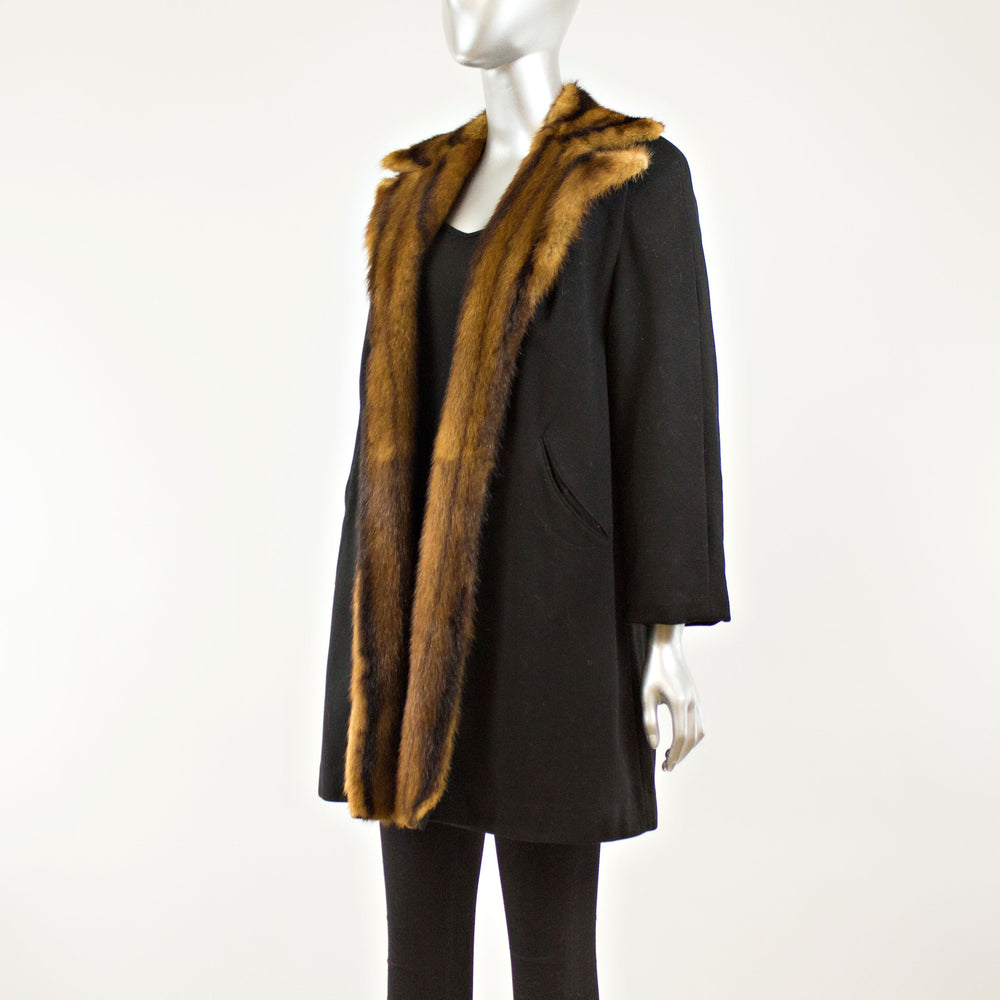 Wool Coat Lined Chinese Mink- Size M (Vintage Furs)