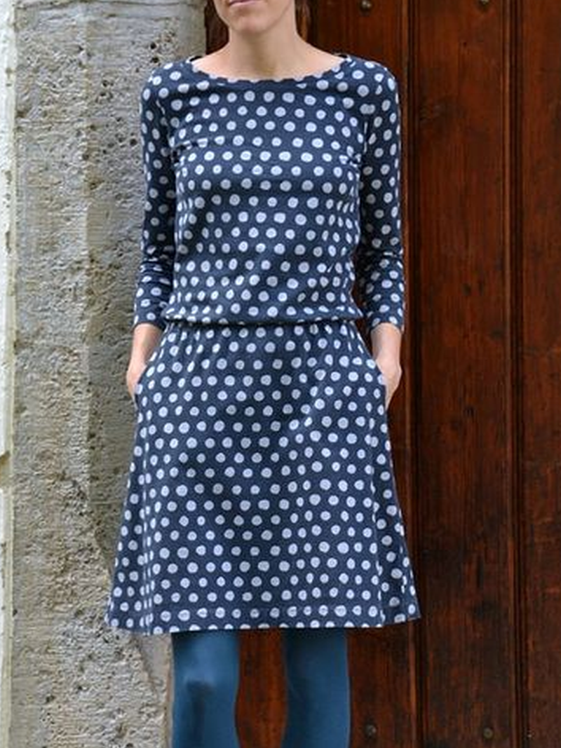 Décontracté Col Rond Pois Polka Robes