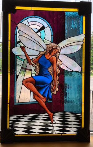 Painted Fairy w. Stained Glass background & HandCarved Wooden Frame