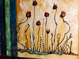 """Sea Flower Garden"" - Large Encaustic"
