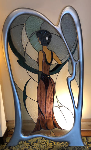 Wendy - Large beautiful advanced artistic stained glass and surrounding curved frame