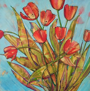 "RED TULIPS- SOLD . 16"" x 16"""