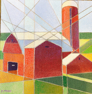 "'BARNS CUBED 4'    12"" x 12"" on board"