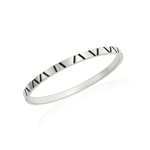Skinny Bangle: Satin/Oxidized