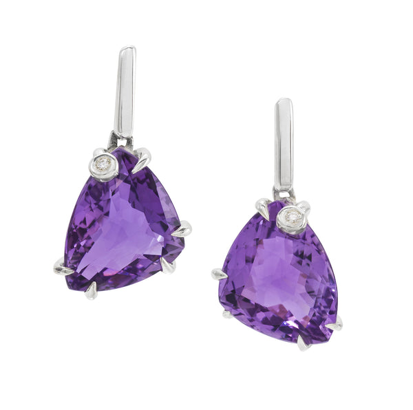 Amethyst Triangle Earrings