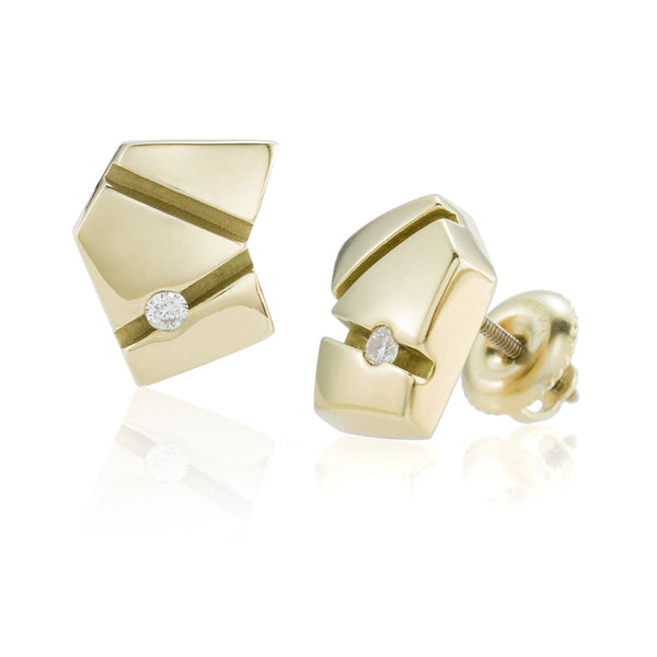 Gold Asymmetrical Studs