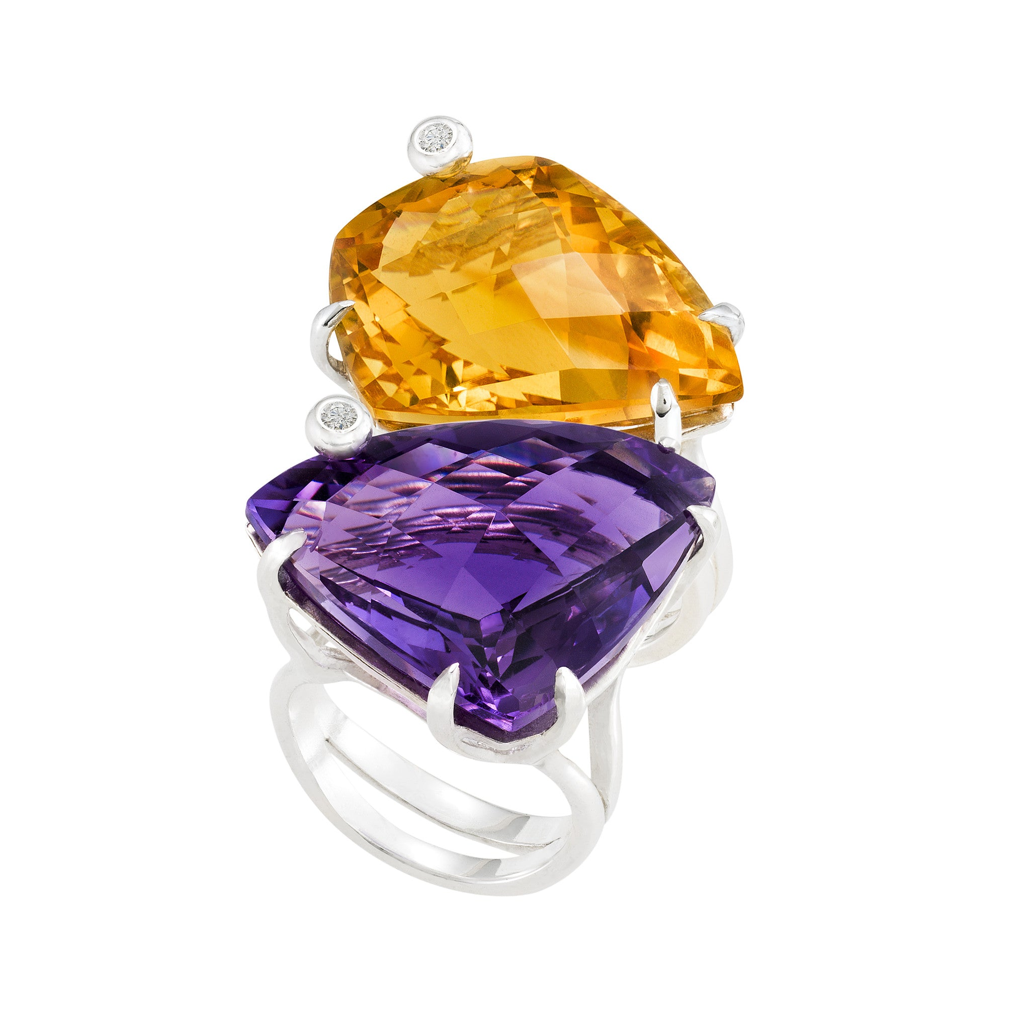 Triangle Cocktail Ring: Amethyst
