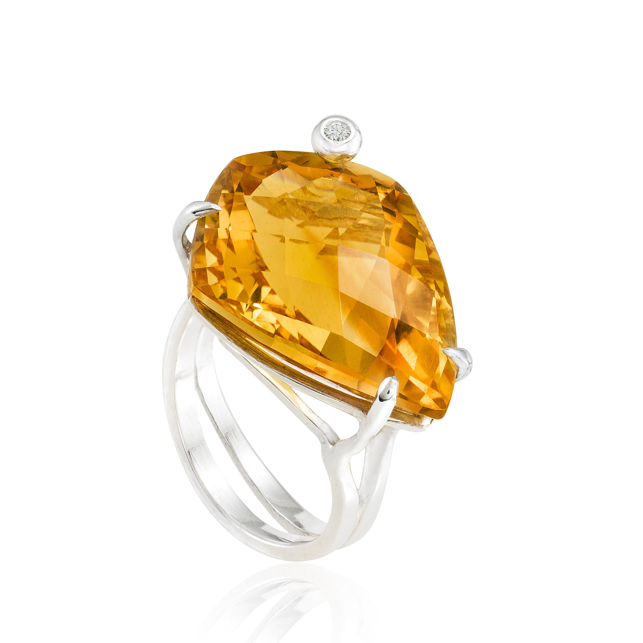 Shield Cocktail Ring: Citrine