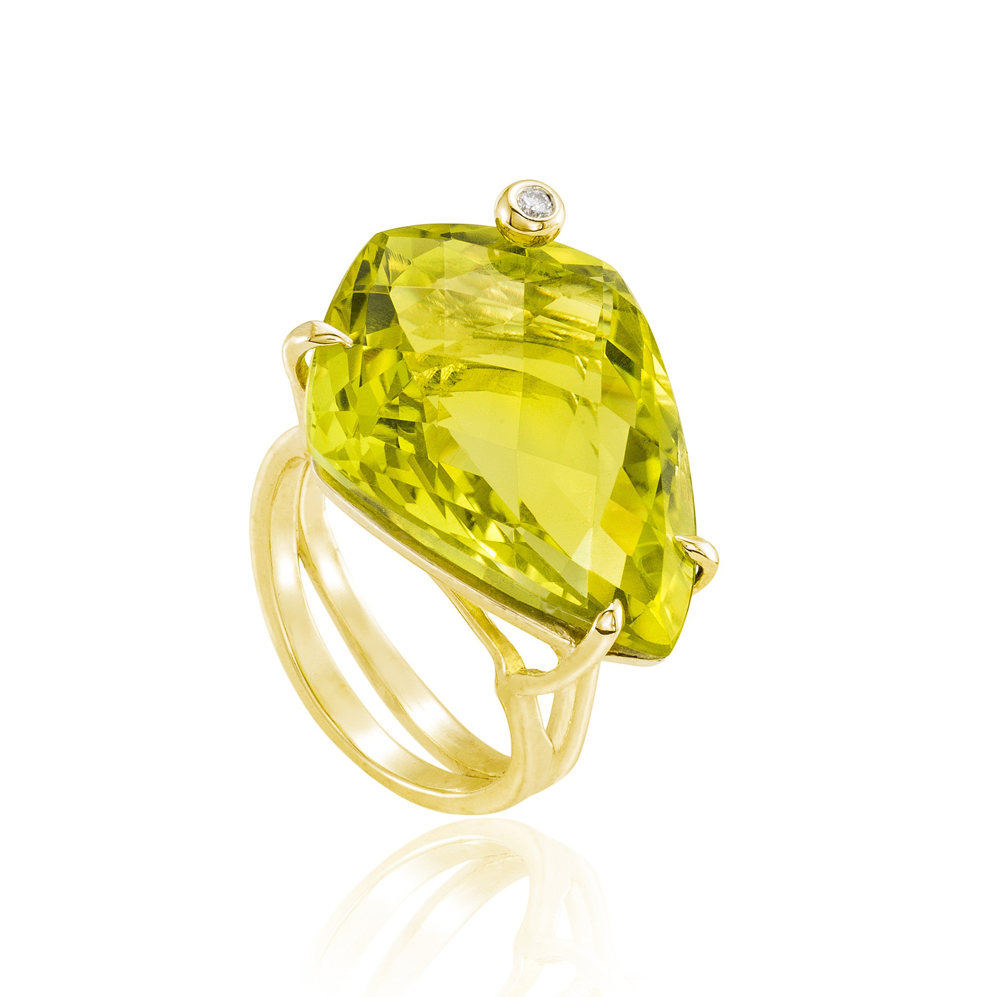 Gold Shield Cocktail Ring: Lemon Quartz