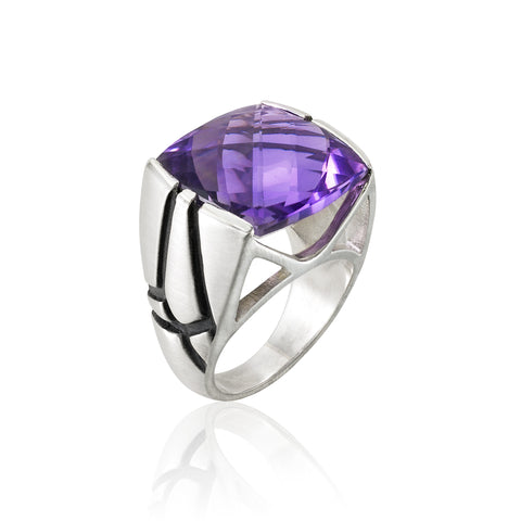 Square Cocktail Ring: Amethyst