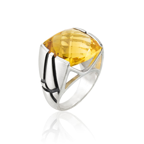 Square Cocktail Ring: Citrine