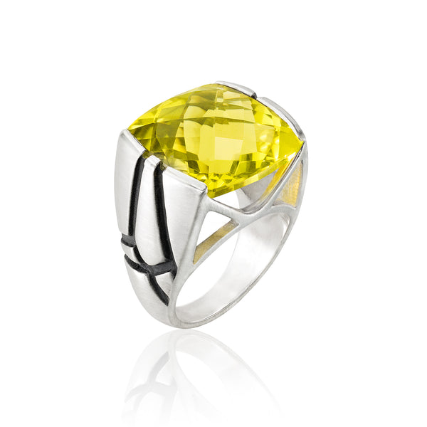 Square Cocktail Ring: Lemon Quartz