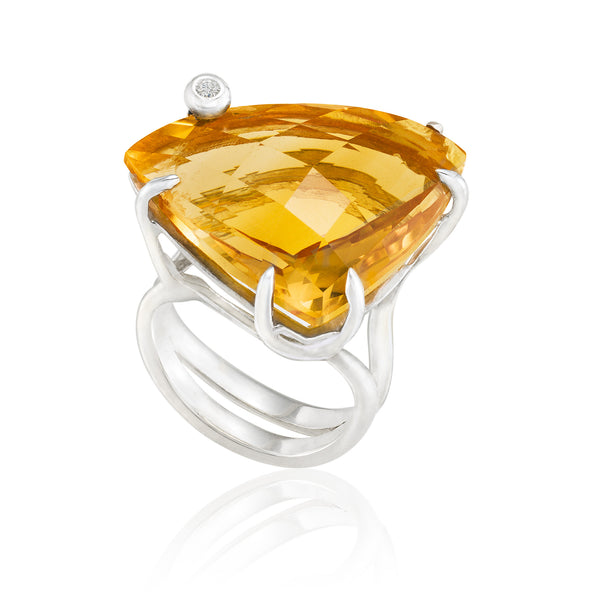 Triangle Cocktail Ring: Citrine