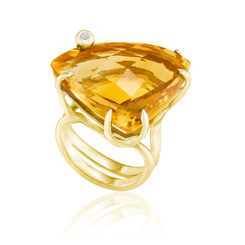 Gold Triangle Cocktail Ring: Citrine