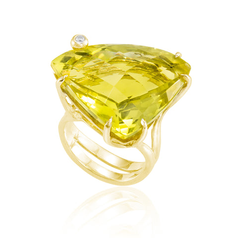 Gold Triangle Cocktail Ring: Lemon Quartz