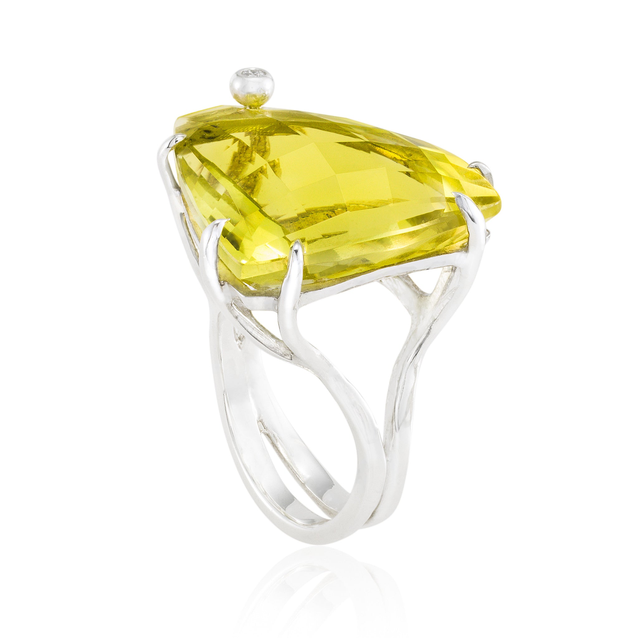Triangle Cocktail Ring: Lemon Quartz