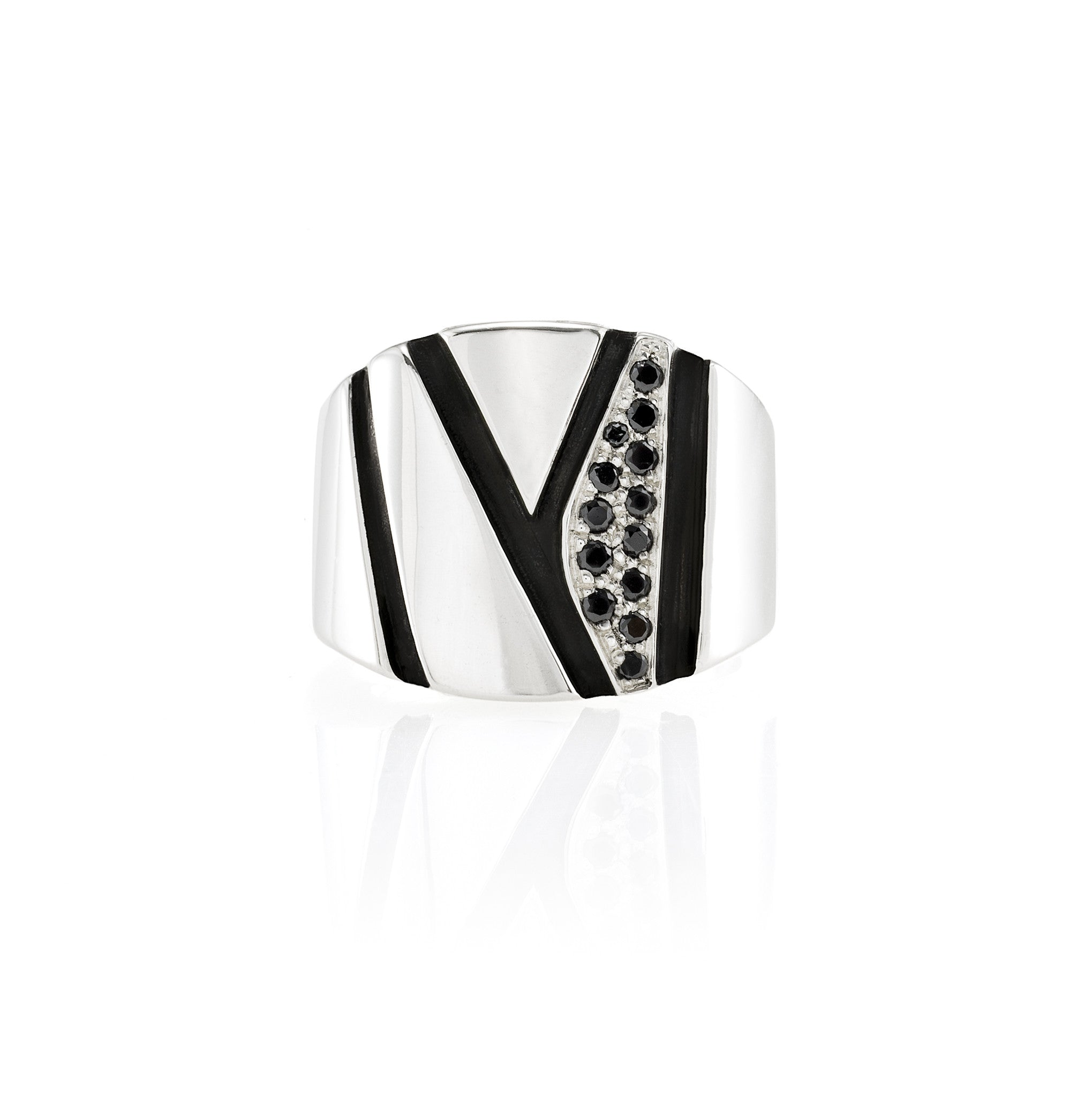 Chunky Silver Ring: Black Diamonds