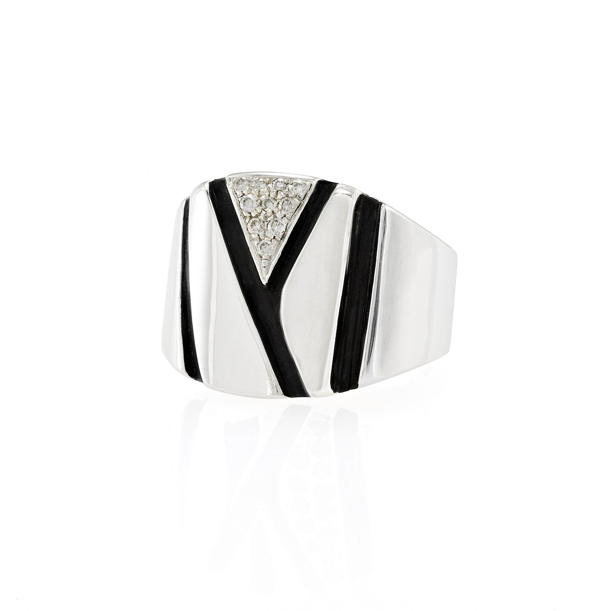 Chunky Silver Ring: White Diamonds