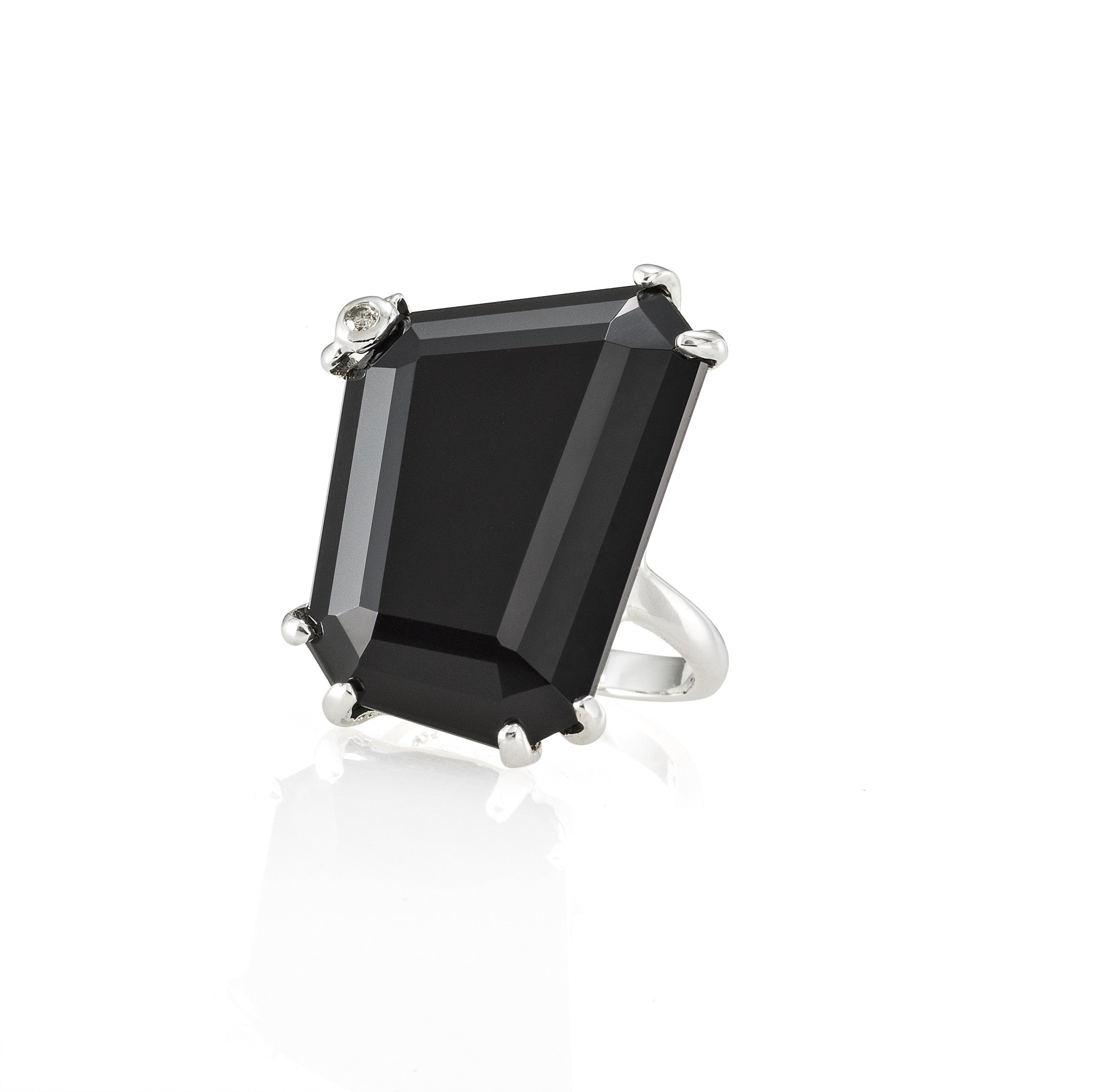 Asymmetrical Black Onyx Ring