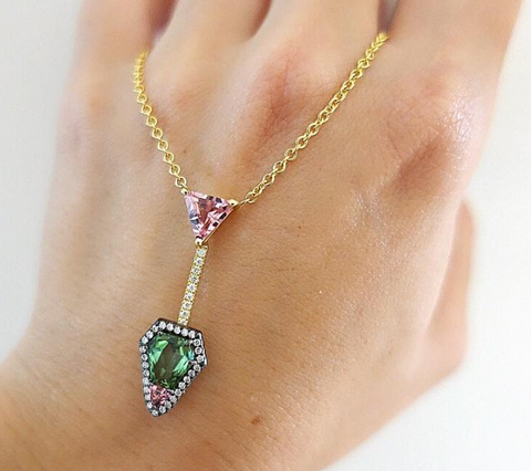 Yellow and Blackened Gold, Pink + Green Tourmaline Diamond Necklace