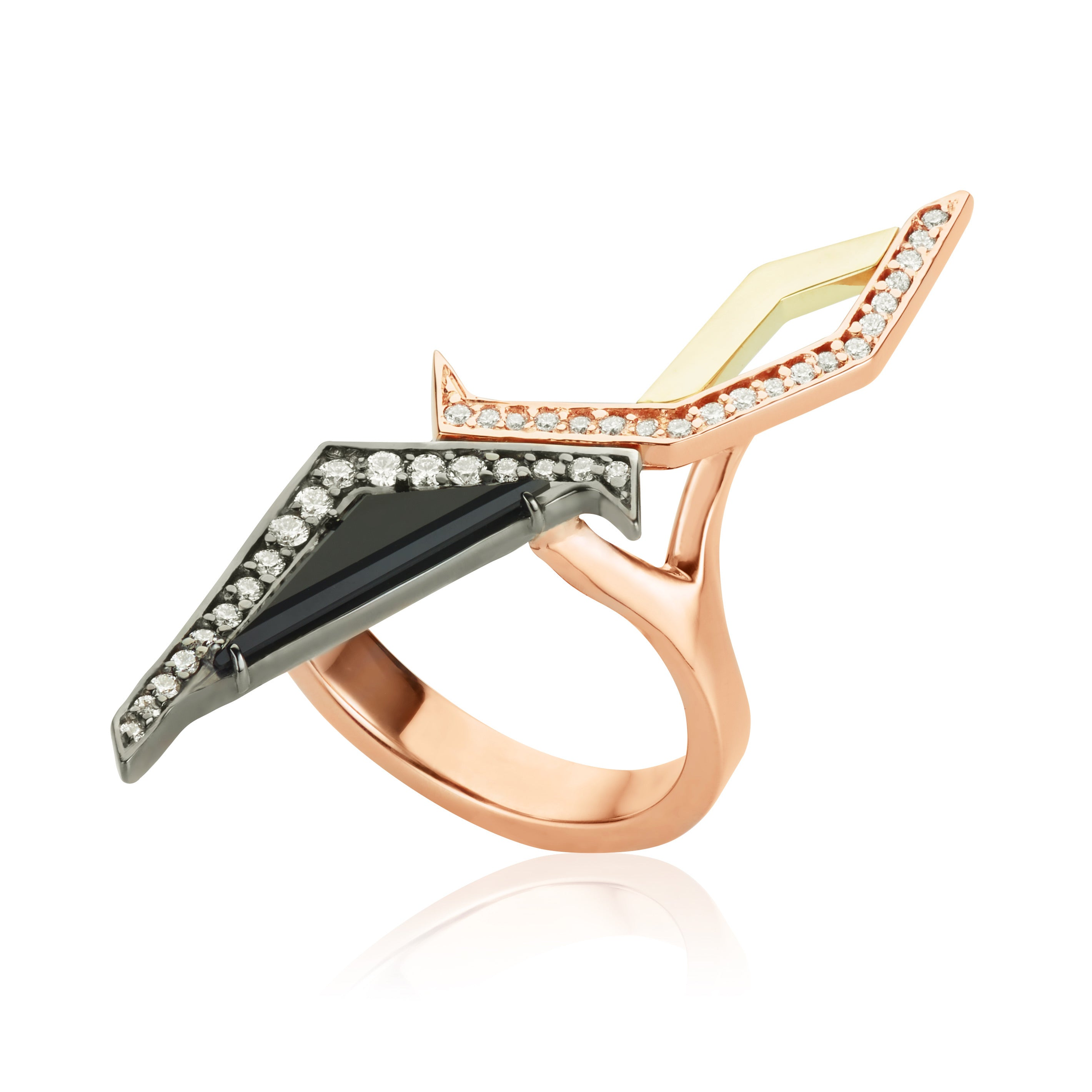 Libeskind Three Tone Gold Ring - Black