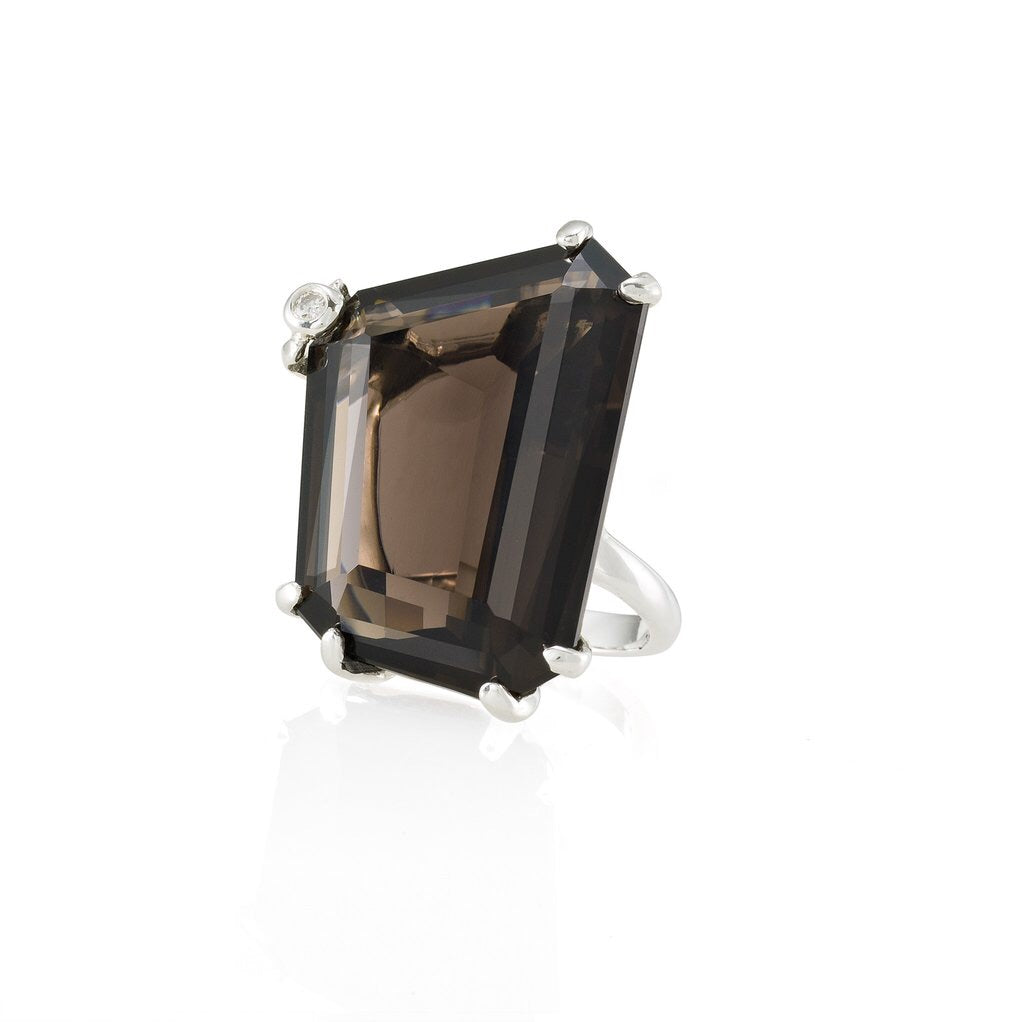 MEDIUM ASYMMETRICAL SMOKY QUARTZ RING (L)