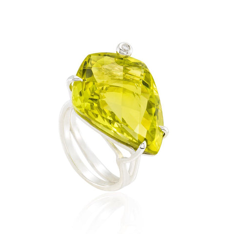 Mini CandyBar Shield Ring: Lemon Citrine