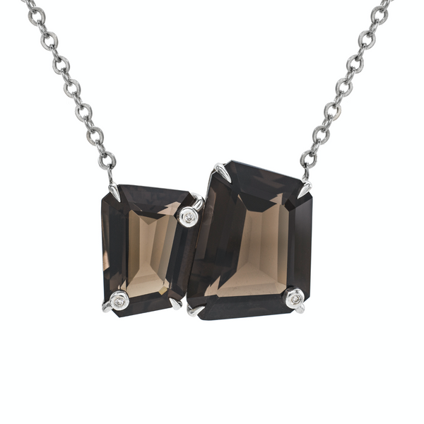 Asymmetrics + Diamonds Double Stone Necklace: Smoky Quartz