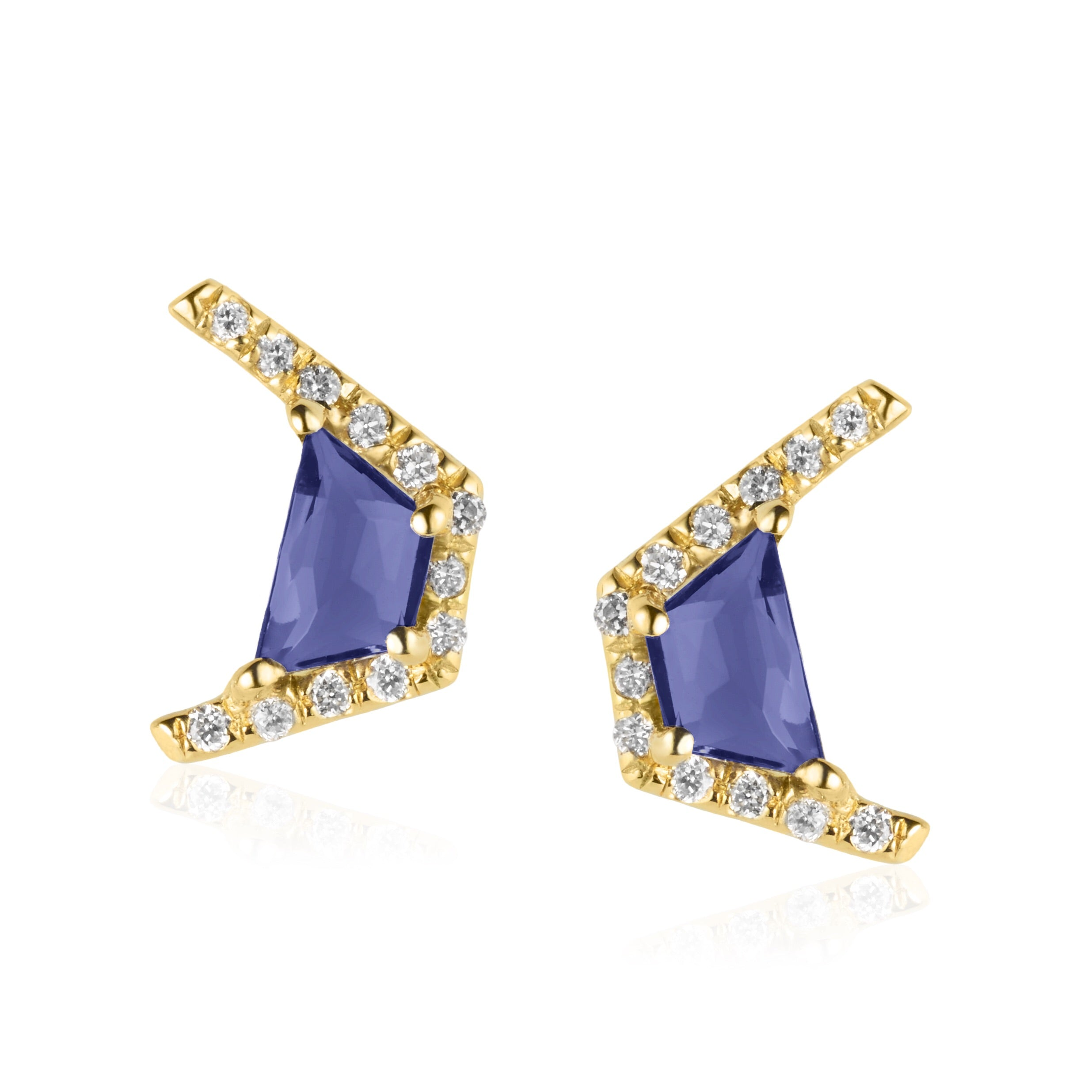Micro Earrings Yellow Gold/Iolite