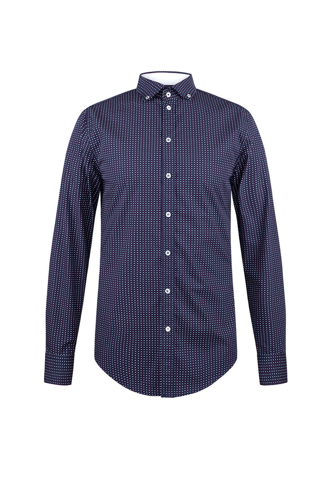 Camisa manga larga estampada con contraste en cuello interno y button down.