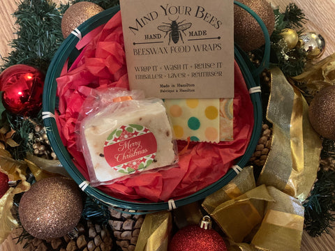 Bees Wax Wrap and Shea Butter Soap Gift Basket