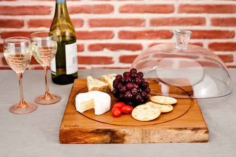 Harch Cheese/ Cake Board with fine Glass Cloche